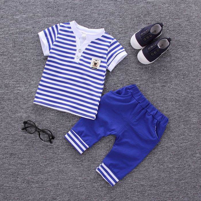Fashion O-Neck Striped Cotton Summer Boys Clothing Set