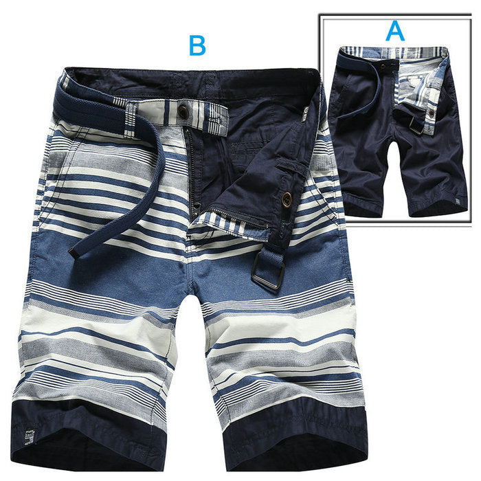 Casual Double-Sided Wear Cotton Striped Cargo Men Shorts