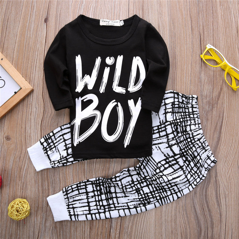 0-24M Warm Long Sleeve Wild Boy Printed T-shirt & Plaid Pant