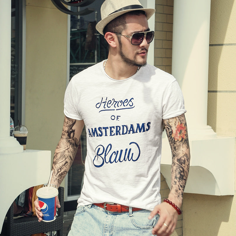 European Style Quick Dry Letters Printing Bamboo Cotton Slim Mens T-Shirt
