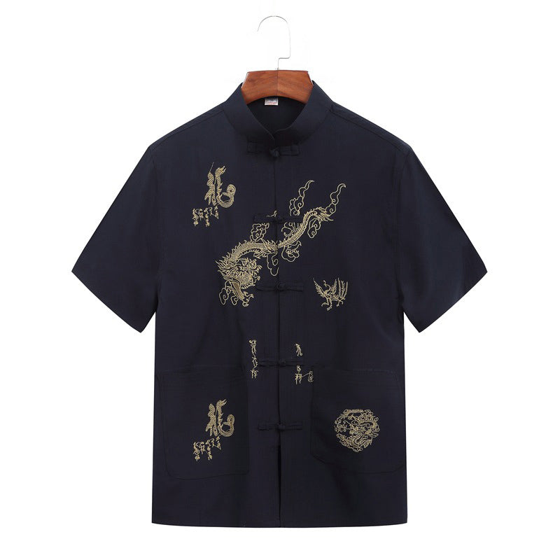 Embroidery Chinese Style Short Sleeve Men Summer Shirt