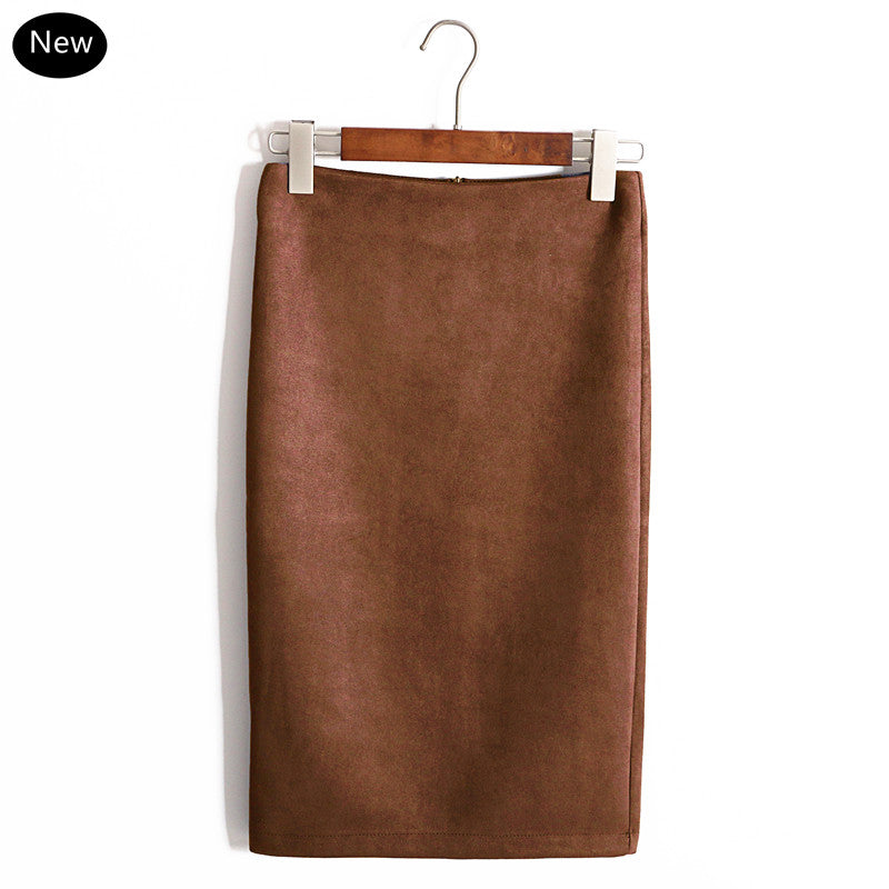 Bodycon Solid Suede Multi Color Pencil Women Midi Skirt