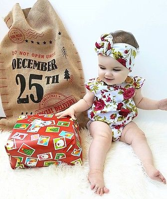 Lovely Flower Printed Sleeveless Baby Girls Summer Romper With Headhand