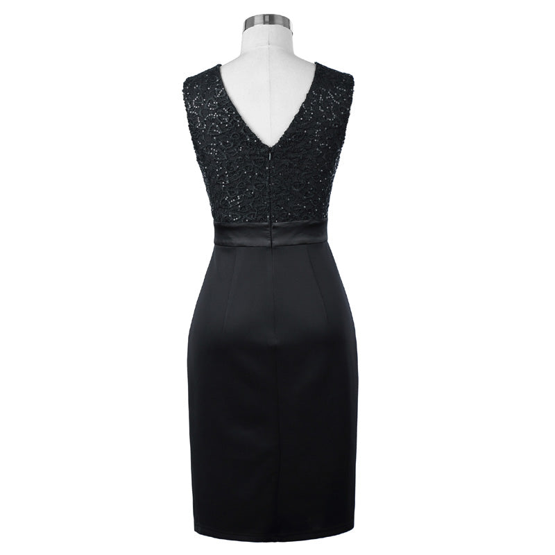Elegant Bodycon Sleeveless V-Back Pencil Black Short Prom Dress