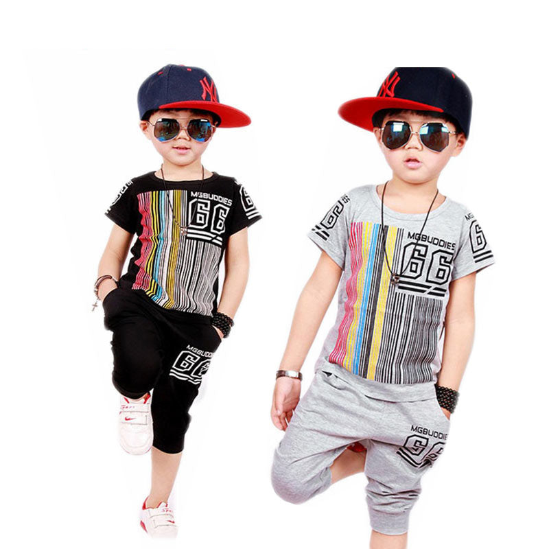 Fashion O-Neck Striped Printed Letters Short-Sleeved T-Shirt & Pant