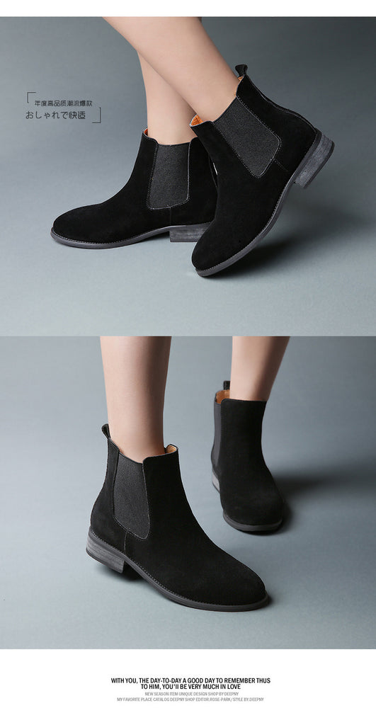 Chelsea Genuine Leather Matte Platform Flat Boots