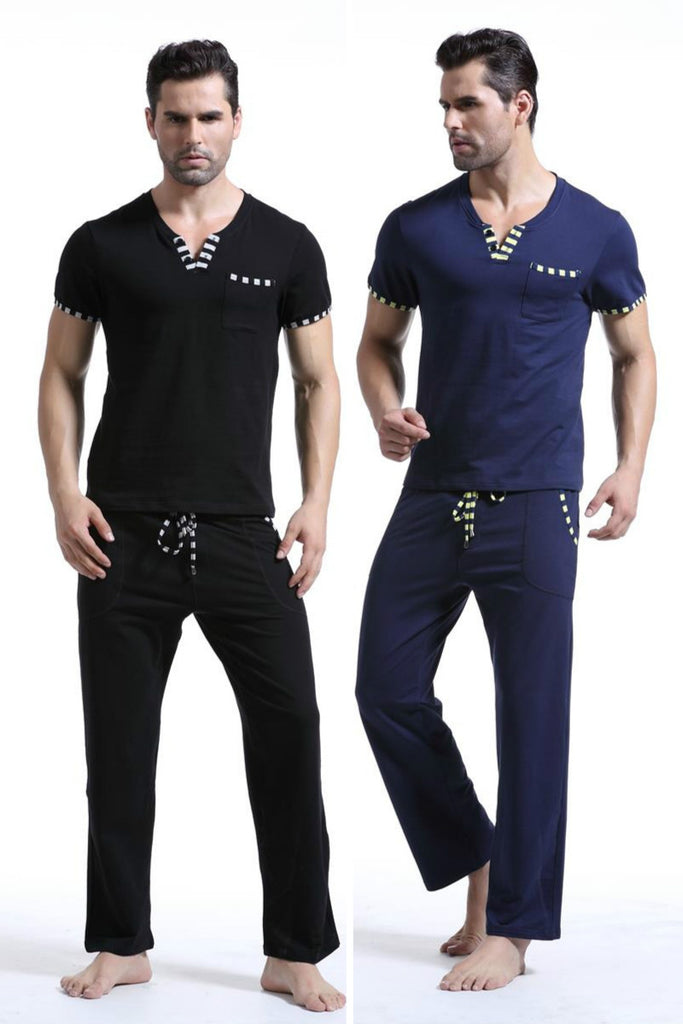 NEW Fashion Patchwork Male Lounge Set Cotton Sleepwear Pajama Set