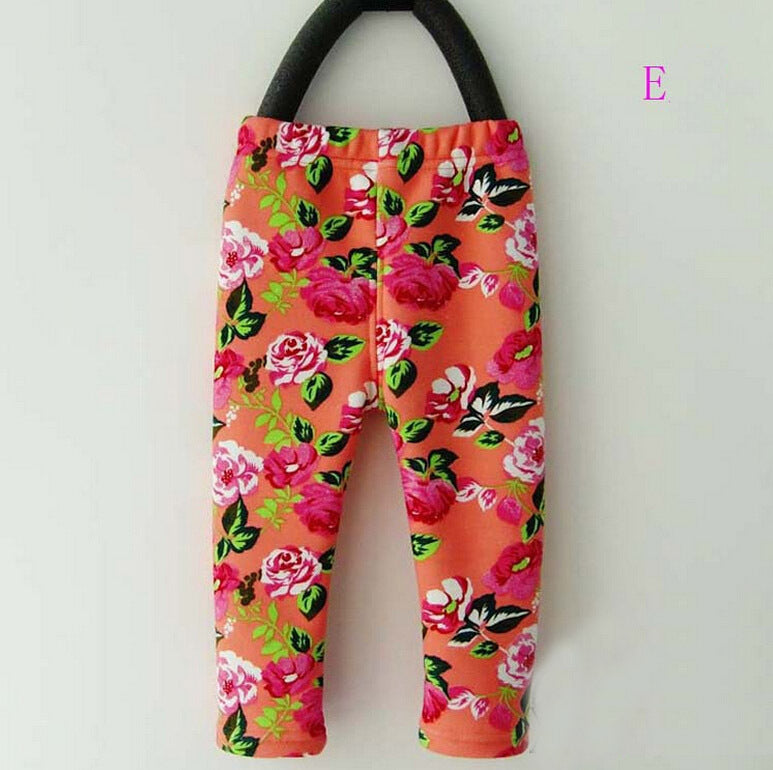 0-2Yrs Elastic Waist Floral Print Cotton Warm Thick Baby Gi