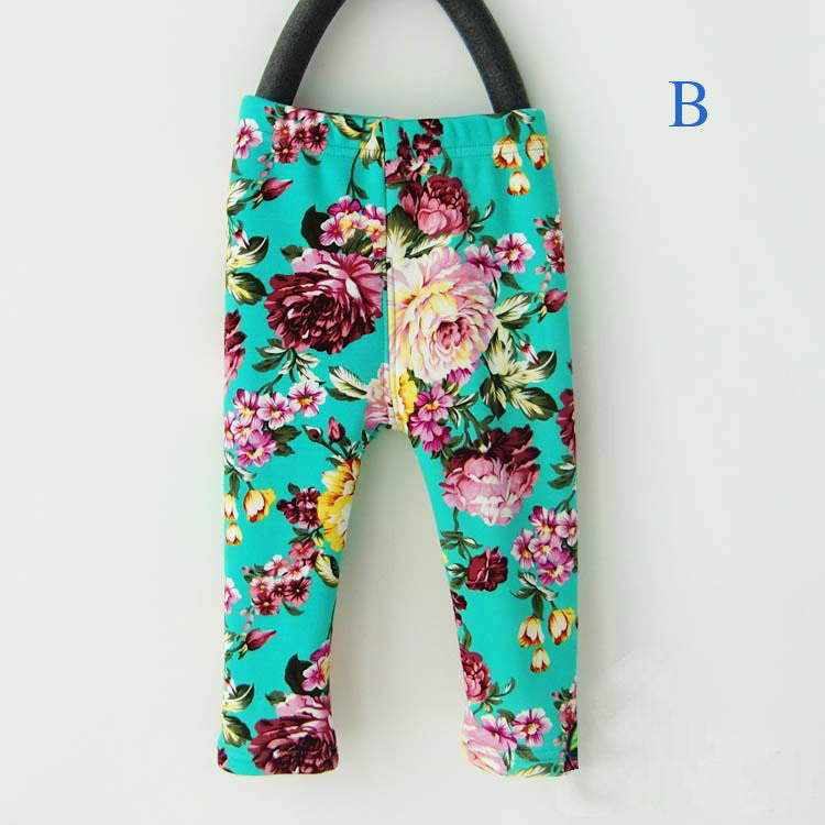 0-2Yrs Elastic Waist Floral Print Cotton Warm Thick Baby Girls Leggings