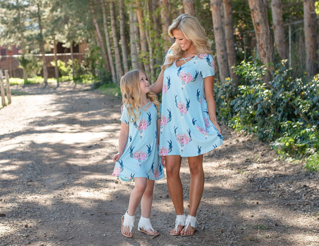 European Style Floral Printed Mother & Daughter Midi Dress