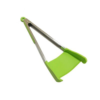 Clever Non-Stick Heat Resistant Stainless Steel 2-In-1 Kitchen Spatula & Tongs