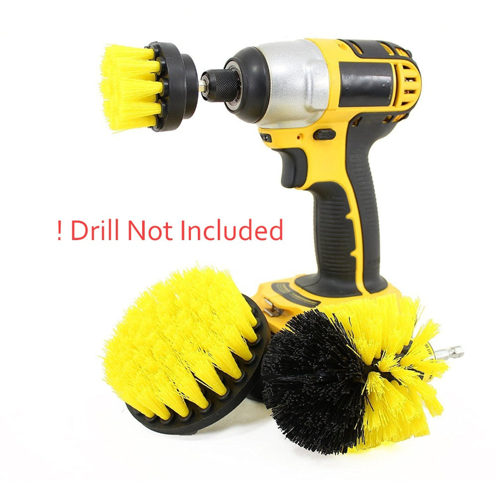 3Pcs Power Scrubber Brush Drill Brush Clean For Bathroom & Car Surfaces