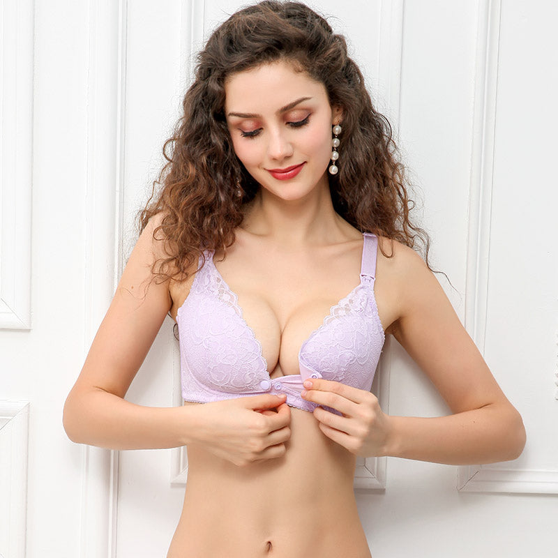 Adjusted-Straps Cotton Solid Color Breastfeeding Maternity Nursing Bras