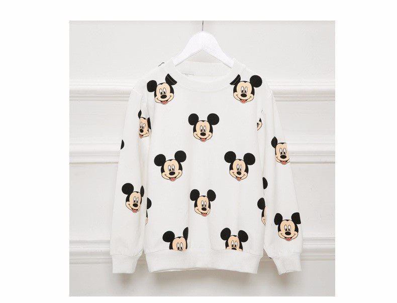 Casual Cartoon Printed Cotton Family Look Matching Sweatshirt