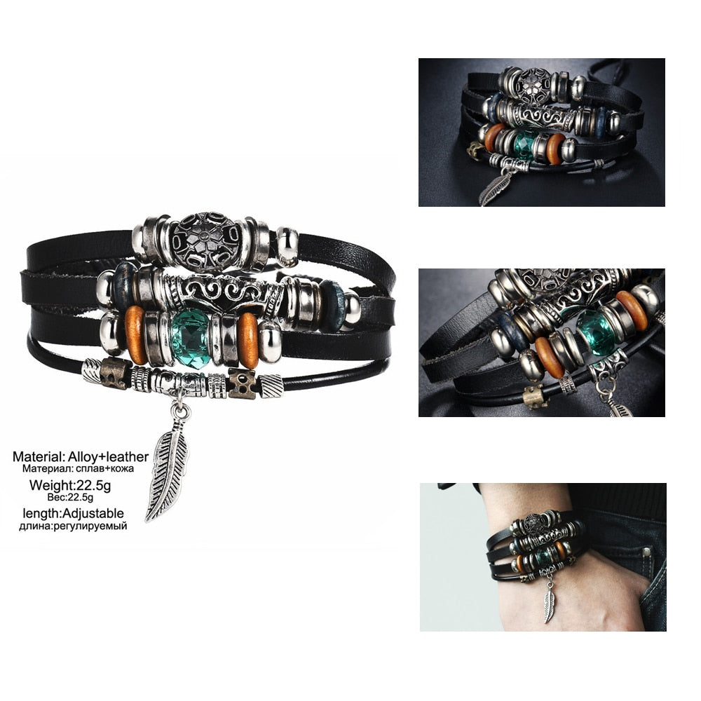 Unisex Vintage Multiple Layer Leather Bracelet