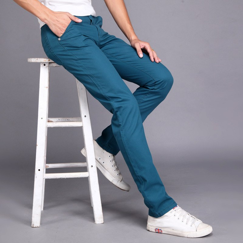 Casual Flat Mid Waist Straight Skinny Slim Mens Long Pant