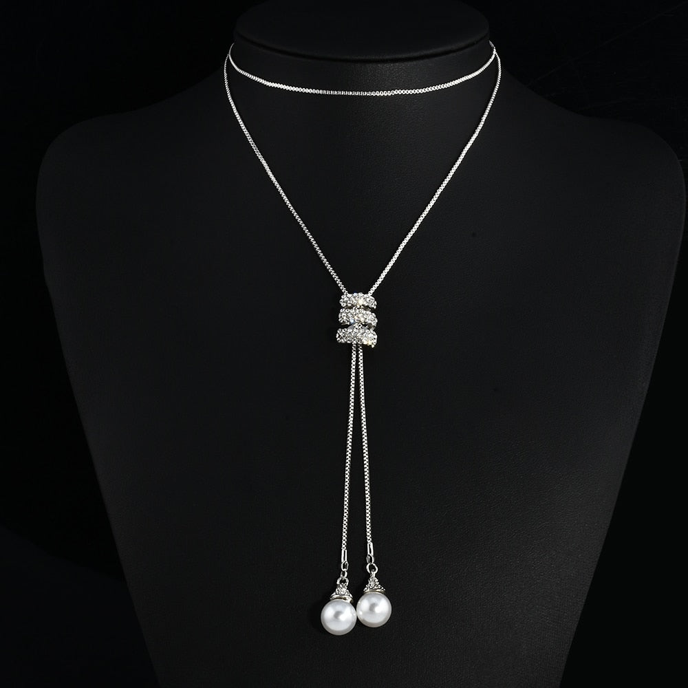 Fashion Alloy Tassel Rhinestone Long Chain Sweater Necklace For Women