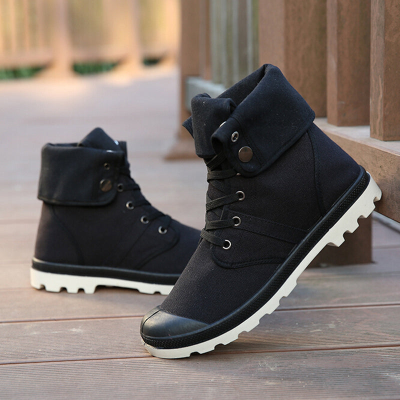 High-Top Military Ankle Boots Comfortable Canvas Men Shoes