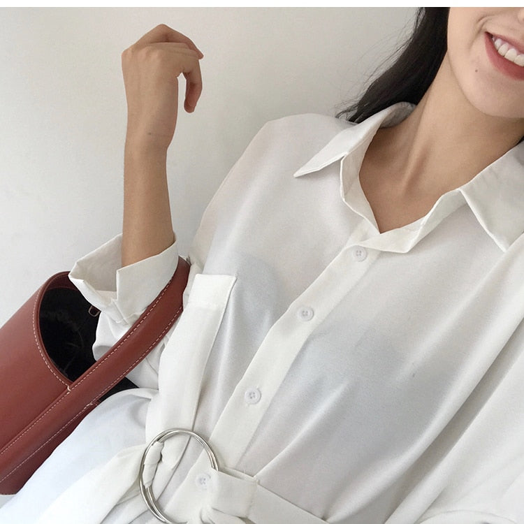 Vintage Retro Lace-up Fitted Waist Long Women Blouse