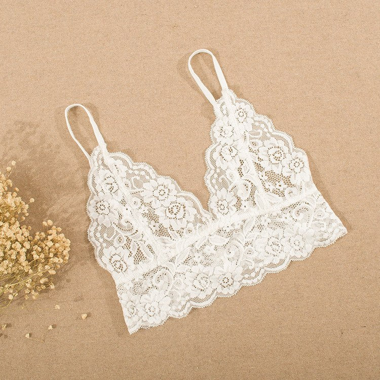Wire-Free Strappy Solid Lace Plunge Women Bra