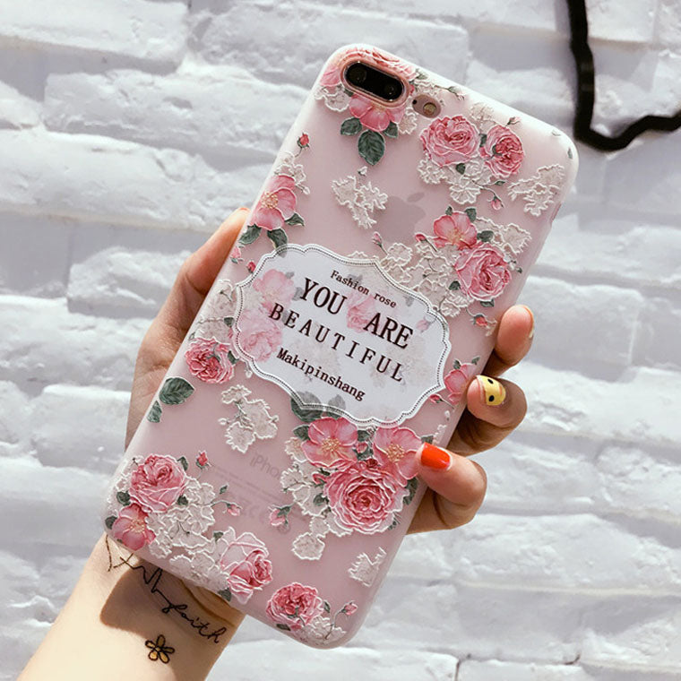 Chic 3D Flower & Leaves Soft Silicone TPU Back Cover For iPhone Smartphone