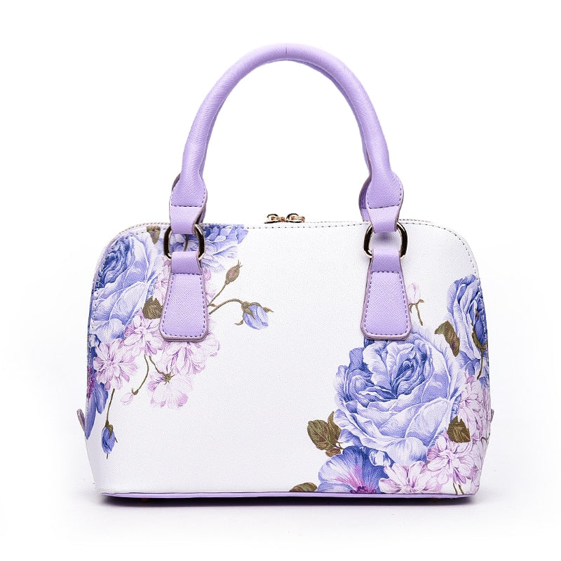 Fashion Printing Floral Shell Leather Women Handbag