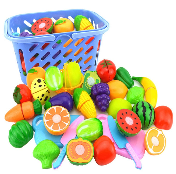 23Pcs/Set Plastic Early Development & Education Fruit Vegetables Cutting Toy