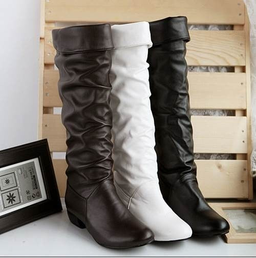 Handmade Slip-On Round Toe Flat Heels Knee High Women Boots