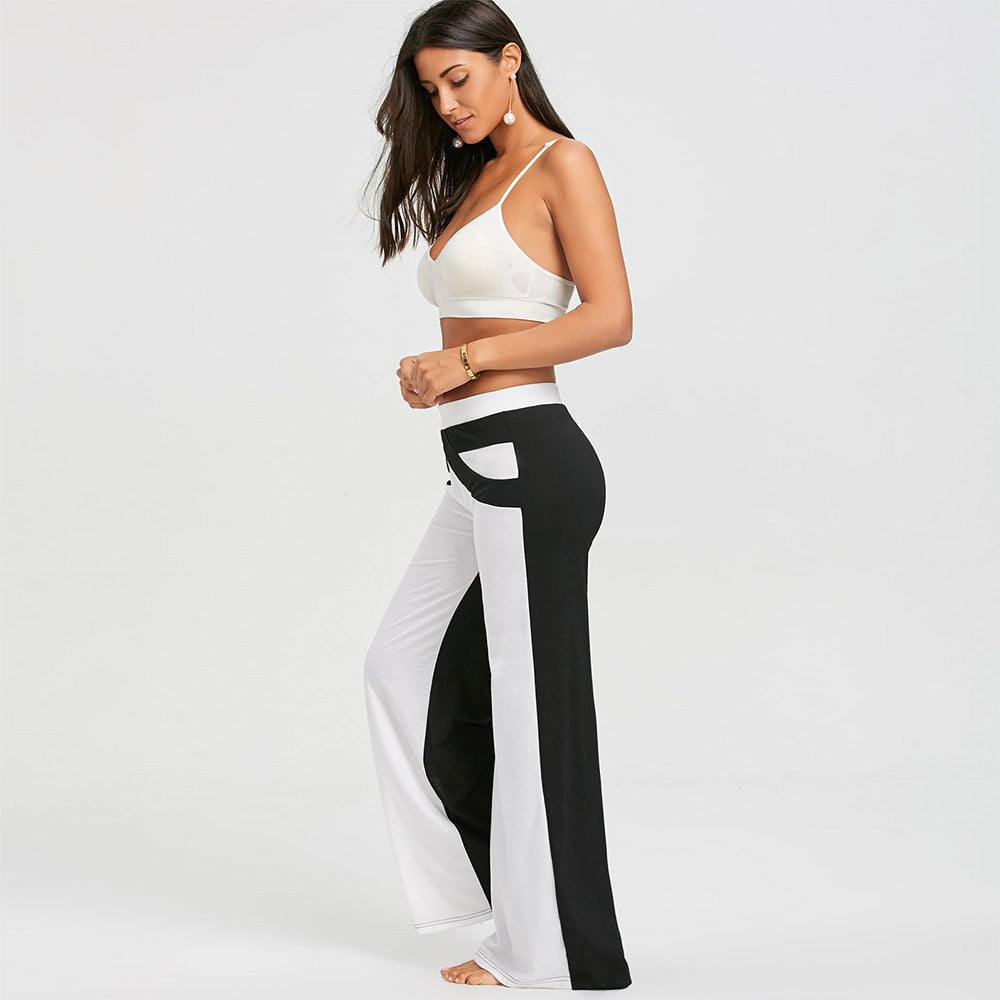 Elastic Waist Loose With Color Block Flat Women Wide Leg Pant