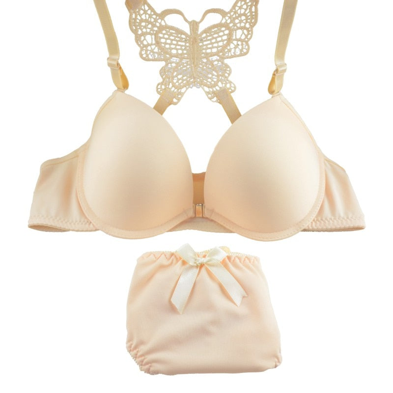2Pcs/Set Front Button Back Butterfly Lace Gathered Padded Bras & Knicker