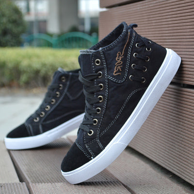 Breathable Men Casual Shoes Korean High-Top Lace-up