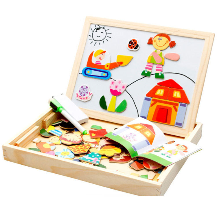 Unisex Multifunctional 3D Cartoon Wooden Puzzle With Magnetic Drawing Board