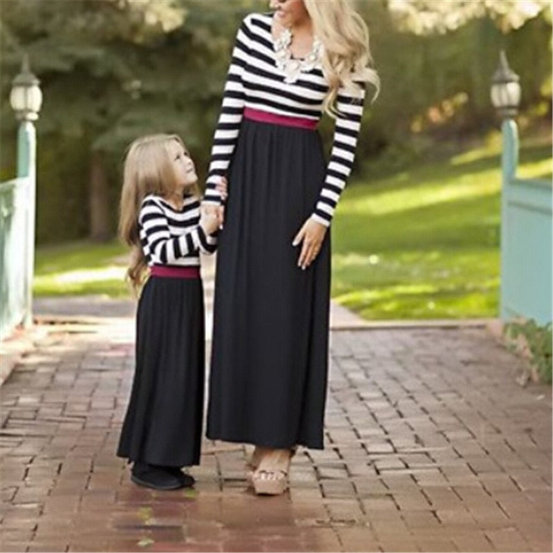 Boho Striped Mother & Daughter Matching Maxi Dress