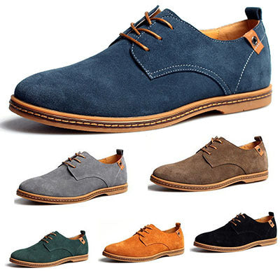 Men Suede Genuine Leather Loafers Low Flats Shoes