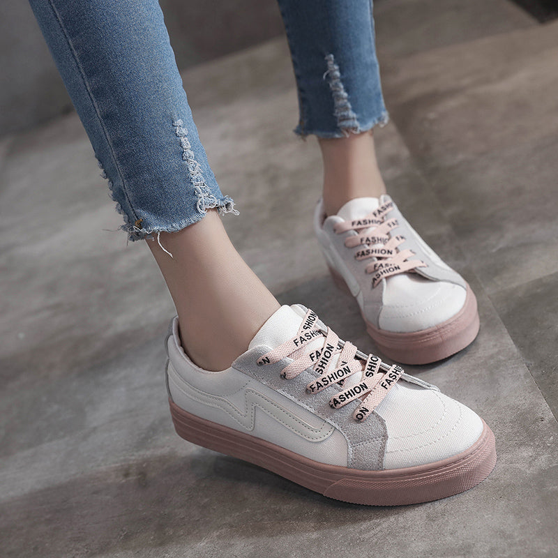 Comfortable Patchwork Lace Up Canvas Women Flat Sneaker