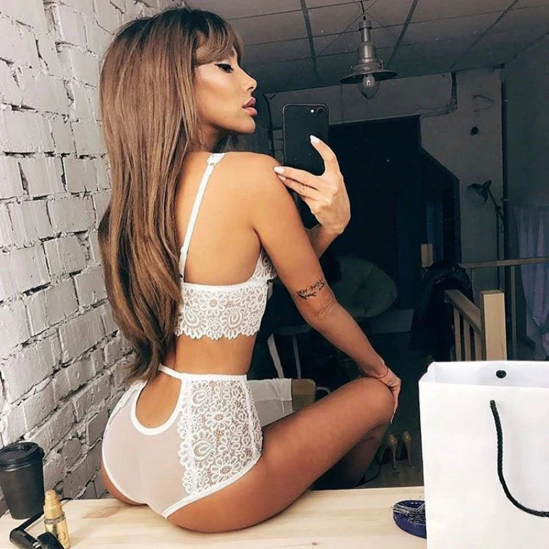 Hollow Out Lace Push Up Straps Bra & Cut Out Panties Women Intimate Set