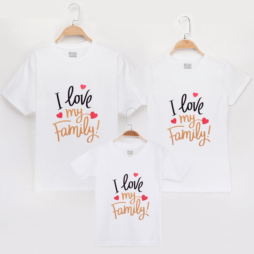 100% Cotton I Love Family Printed Family Matching T-shirt