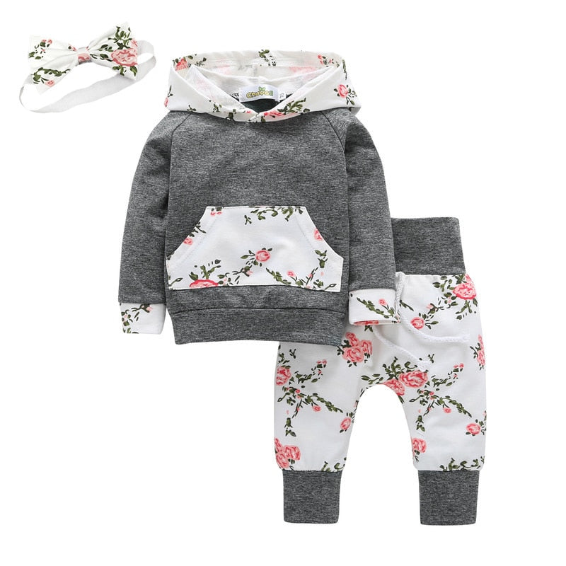 3Pcs/Set Long Sleeve Flowers Kangaroo Pocket Baby Girls Hoodie & Pant & Headband