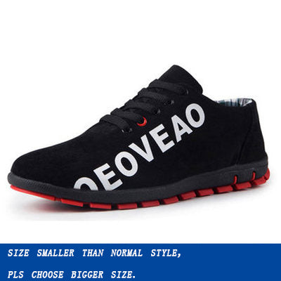Men Casual Shoes Korea Canvas Breathable Low Lace-up