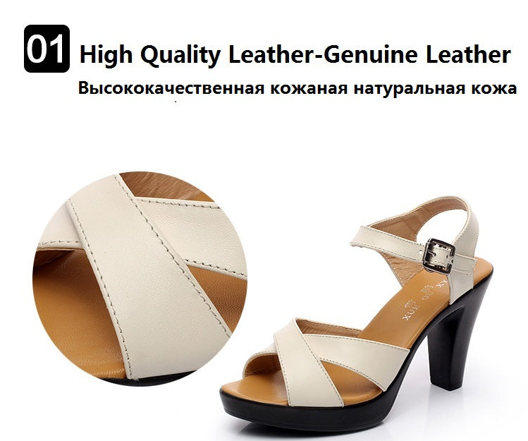 Handmade Peep Toe Genuine Leather Gladiator High Heels Sandals For Women