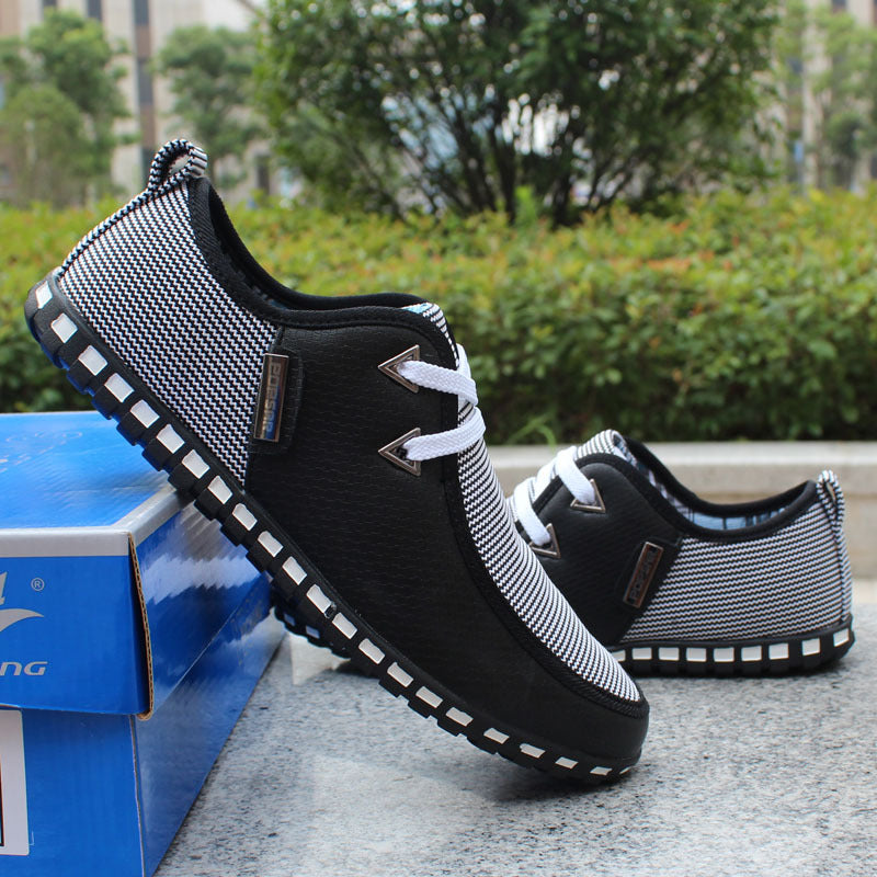 Plus Size Men Casual PU Leather Shoes Low Lace-up