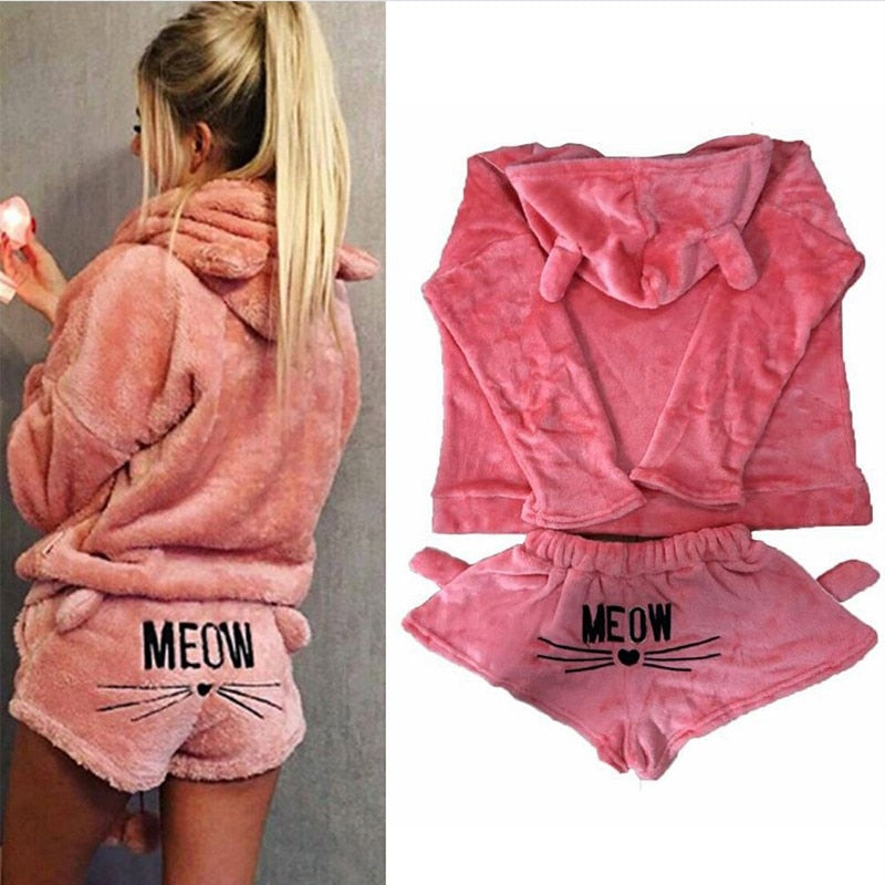 Cute Cat Embroidery O-Neck Hooded Velvet Pajama Set For Women