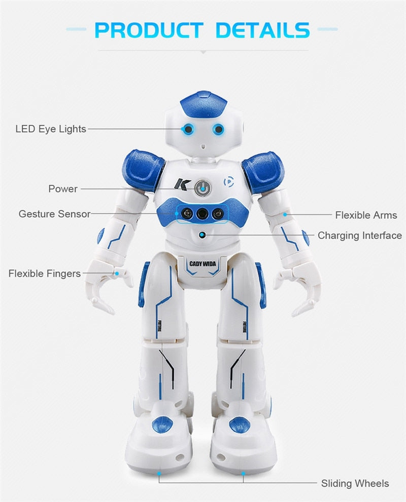 Cool Unisex JJRC R2 USB Charging Singing Dancing Gesture Control RC Robot Toy