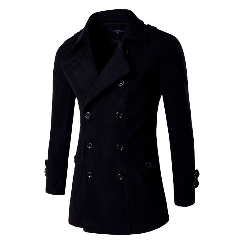 Double Breasted Slim Sit Wool & Blends Trench Overcoat For Men