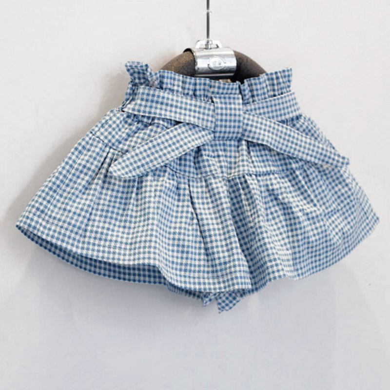 Cotton Bowknot Sleeveless T-shirt & Plaid Skirt Girls Clothing Set