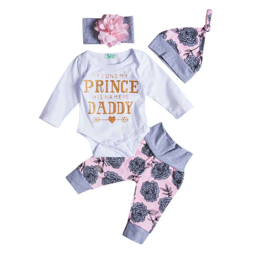 0-18M 4Pcs/Set Floral Baby Girls Romper & Floral Long Pants With Headband & Hat