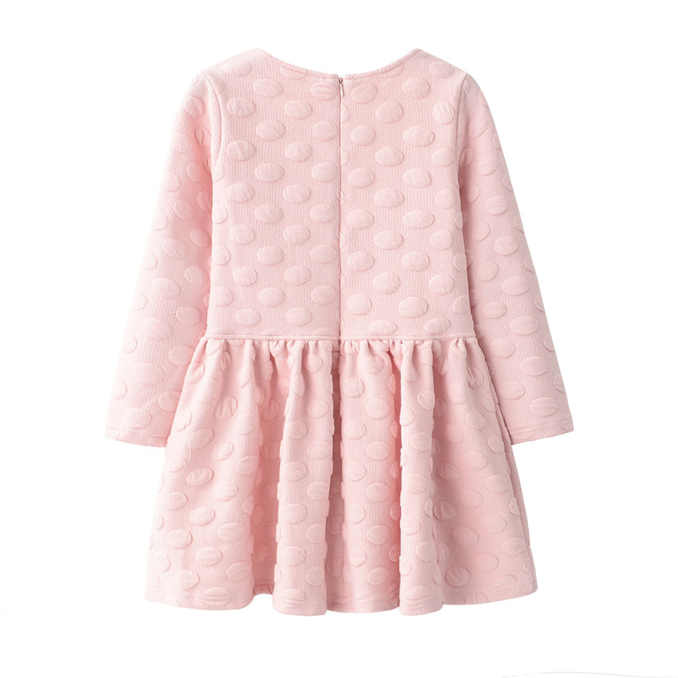 A-Line 7-16Yrs Warm Cotton Thicken Dot Winter Dress For Girls