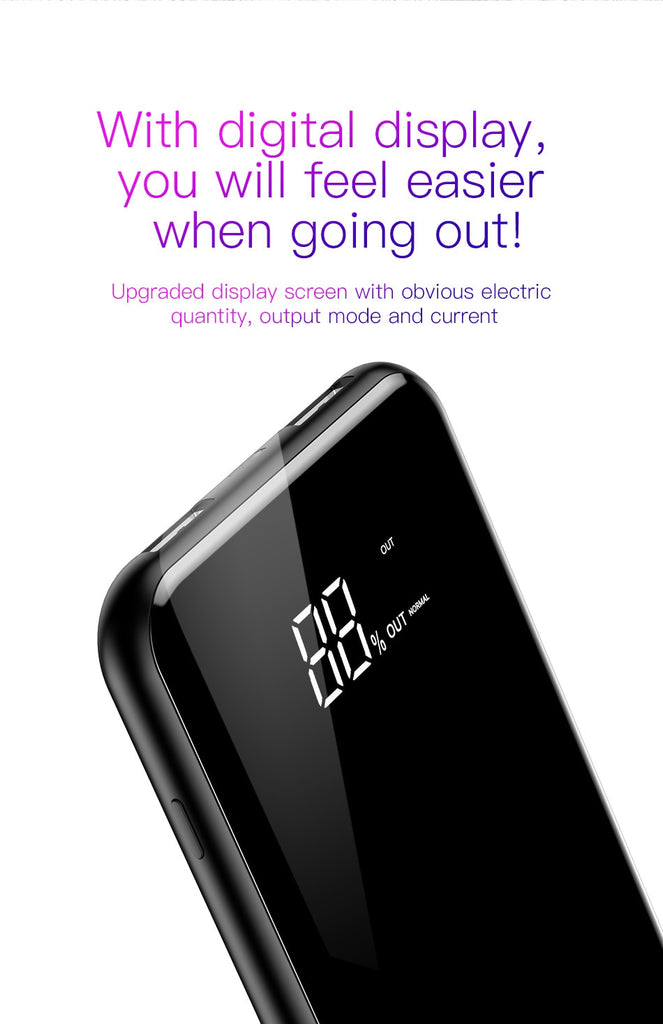 Universal 8000mAh 5W LCD Display 2A Dual USB QI Wireless Charger Power Bank