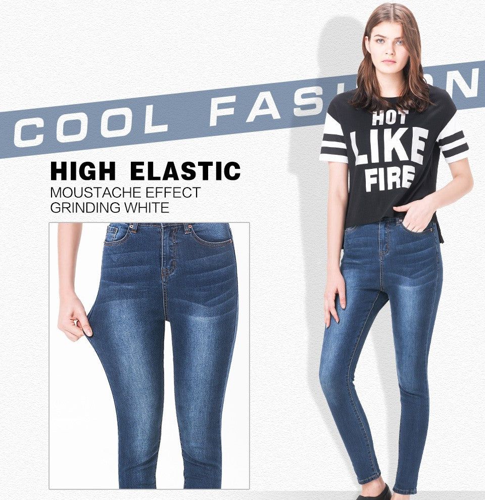 Elastic High Waist Stretch Washed Denim Skinny Pencil Jeans For Women