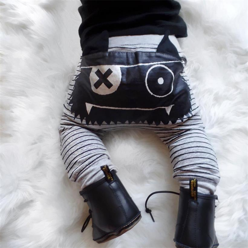 Cute Elastic Waist Striped Monster Loose Harem Pants For Baby